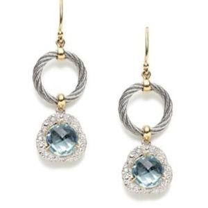 Charriol 18kt. YG Blue Topaz Diamonds Earrings